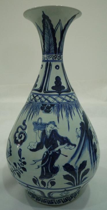 青花人物玉壶春瓶
