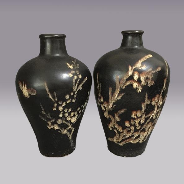 黑釉花鸟纹梅瓶,黑釉花鸟纹梅瓶
