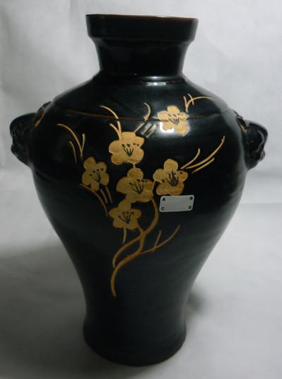 宋吉州窑黑釉兽首梅瓶